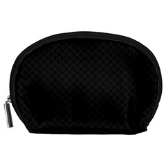 Sleek Black Stitched and Quilted Pattern Accessory Pouches (Large)