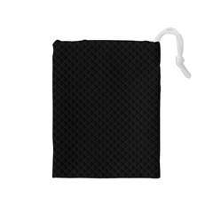 Sleek Black Stitched and Quilted Pattern Drawstring Pouches (Medium)