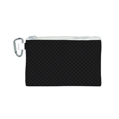 Sleek Black Stitched and Quilted Pattern Canvas Cosmetic Bag (S)