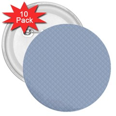 Powder Blue Stitched and Quilted Pattern 3  Buttons (10 pack)