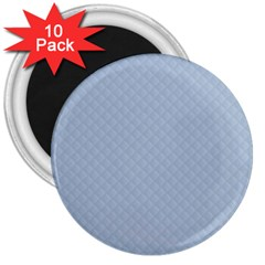 Powder Blue Stitched and Quilted Pattern 3  Magnets (10 pack)