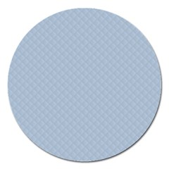 Powder Blue Stitched and Quilted Pattern Magnet 5  (Round)