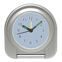 Powder Blue Stitched and Quilted Pattern Travel Alarm Clocks