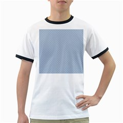 Powder Blue Stitched and Quilted Pattern Ringer T-Shirts