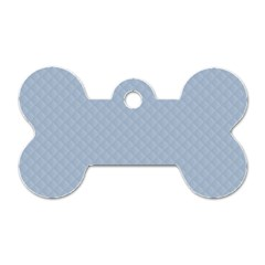 Powder Blue Stitched and Quilted Pattern Dog Tag Bone (Two Sides)