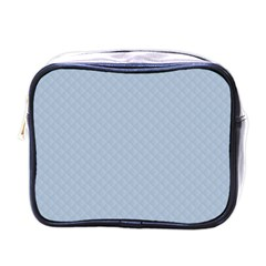 Powder Blue Stitched and Quilted Pattern Mini Toiletries Bags