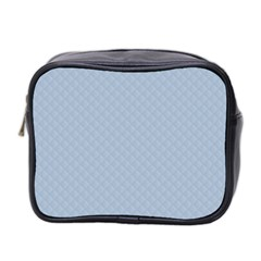 Powder Blue Stitched and Quilted Pattern Mini Toiletries Bag 2-Side