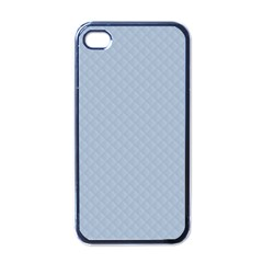 Powder Blue Stitched and Quilted Pattern Apple iPhone 4 Case (Black)