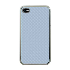 Powder Blue Stitched and Quilted Pattern Apple iPhone 4 Case (Clear)
