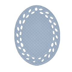 Powder Blue Stitched and Quilted Pattern Ornament (Oval Filigree)