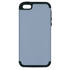 Powder Blue Stitched and Quilted Pattern Apple iPhone 5 Hardshell Case (PC+Silicone)