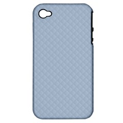 Powder Blue Stitched and Quilted Pattern Apple iPhone 4/4S Hardshell Case (PC+Silicone)