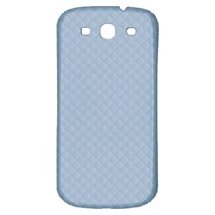 Powder Blue Stitched and Quilted Pattern Samsung Galaxy S3 S III Classic Hardshell Back Case