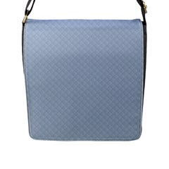 Powder Blue Stitched and Quilted Pattern Flap Messenger Bag (L)