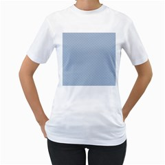 Powder Blue Stitched and Quilted Pattern Women s T-Shirt (White)
