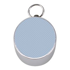 Powder Blue Stitched and Quilted Pattern Mini Silver Compasses