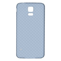 Powder Blue Stitched and Quilted Pattern Samsung Galaxy S5 Back Case (White)