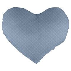 Powder Blue Stitched and Quilted Pattern Large 19  Premium Flano Heart Shape Cushions