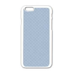 Powder Blue Stitched and Quilted Pattern Apple iPhone 6/6S White Enamel Case