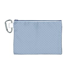 Powder Blue Stitched and Quilted Pattern Canvas Cosmetic Bag (M)