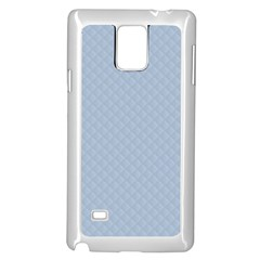 Powder Blue Stitched and Quilted Pattern Samsung Galaxy Note 4 Case (White)