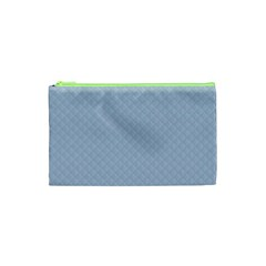 Powder Blue Stitched and Quilted Pattern Cosmetic Bag (XS)