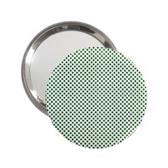 Shamrock 2-Tone Green on White St.Patrick?¯s Day Clover 2.25  Handbag Mirrors