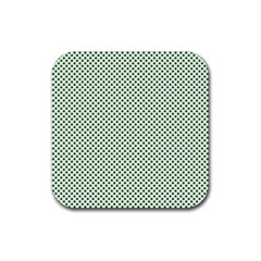 Shamrock 2-Tone Green on White St.Patrick?¯s Day Clover Rubber Coaster (Square)