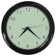 Shamrock 2-Tone Green on White St.Patrick?¯s Day Clover Wall Clocks (Black)