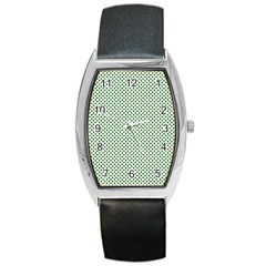 Shamrock 2-Tone Green on White St.Patrick?¯s Day Clover Barrel Style Metal Watch