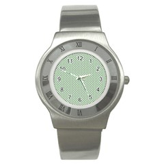Shamrock 2-Tone Green on White St.Patrick?¯s Day Clover Stainless Steel Watch