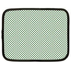 Shamrock 2-Tone Green on White St.Patrick?¯s Day Clover Netbook Case (Large)