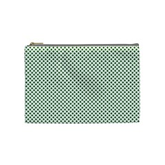 Shamrock 2-Tone Green on White St.Patrick?¯s Day Clover Cosmetic Bag (Medium)