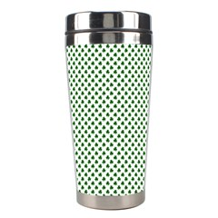 Shamrock 2-Tone Green on White St.Patrick?¯s Day Clover Stainless Steel Travel Tumblers