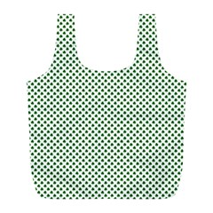 Shamrock 2-Tone Green on White St.Patrick?¯s Day Clover Full Print Recycle Bags (L)