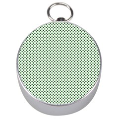 Shamrock 2-Tone Green on White St.Patrick?¯s Day Clover Silver Compasses