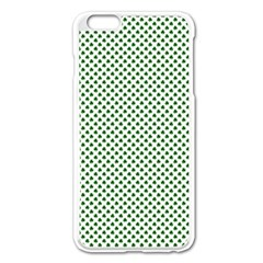 Shamrock 2-Tone Green on White St.Patrick?¯s Day Clover Apple iPhone 6 Plus/6S Plus Enamel White Case