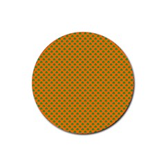Heart-Shaped Shamrock Green on Orange St.Patrick?¯s Day Clover Rubber Round Coaster (4 pack)