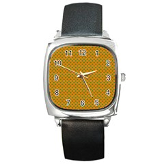 Heart-Shaped Shamrock Green on Orange St.Patrick?¯s Day Clover Square Metal Watch