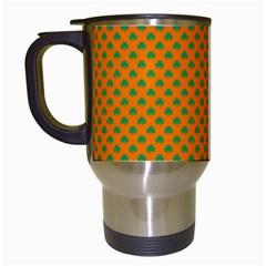 Heart-Shaped Shamrock Green on Orange St.Patrick?¯s Day Clover Travel Mugs (White)
