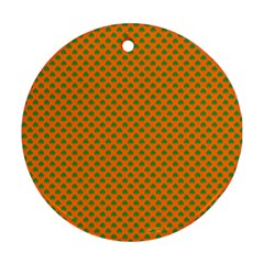 Heart-Shaped Shamrock Green on Orange St.Patrick?¯s Day Clover Round Ornament (Two Sides)