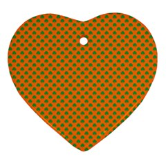 Heart-Shaped Shamrock Green on Orange St.Patrick?¯s Day Clover Heart Ornament (Two Sides)