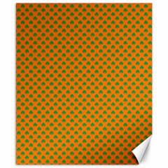 Heart-Shaped Shamrock Green on Orange St.Patrick?¯s Day Clover Canvas 8  x 10