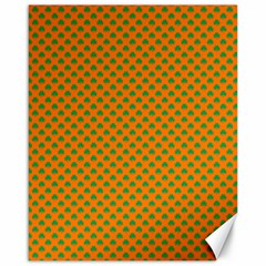 Heart-Shaped Shamrock Green on Orange St.Patrick?¯s Day Clover Canvas 16  x 20