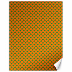 Heart-Shaped Shamrock Green on Orange St.Patrick?¯s Day Clover Canvas 18  x 24