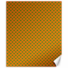 Heart-Shaped Shamrock Green on Orange St.Patrick?¯s Day Clover Canvas 20  x 24