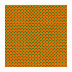 Heart-Shaped Shamrock Green on Orange St.Patrick?¯s Day Clover Medium Glasses Cloth (2-Side)