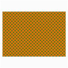 Heart-Shaped Shamrock Green on Orange St.Patrick?¯s Day Clover Large Glasses Cloth (2-Side)