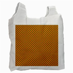 Heart-Shaped Shamrock Green on Orange St.Patrick?¯s Day Clover Recycle Bag (One Side)