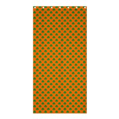 Heart-Shaped Shamrock Green on Orange St.Patrick?¯s Day Clover Shower Curtain 36  x 72  (Stall)